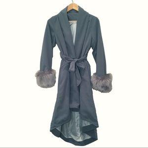vintage steel gray blue wool coat faux fur cuffs